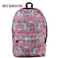 Miyahouse Cartoon Unicorn Printed Backpack For Teenager Canvas Design School Backpack Girls High Quality Travel Bag