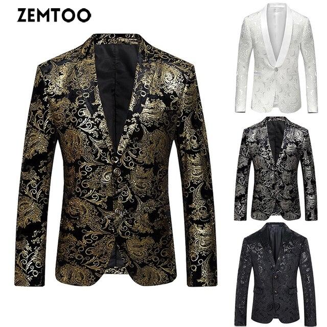99ed50c8 High-end fashion luxury men's gold flower cardigan business casual suit  wedding dress
