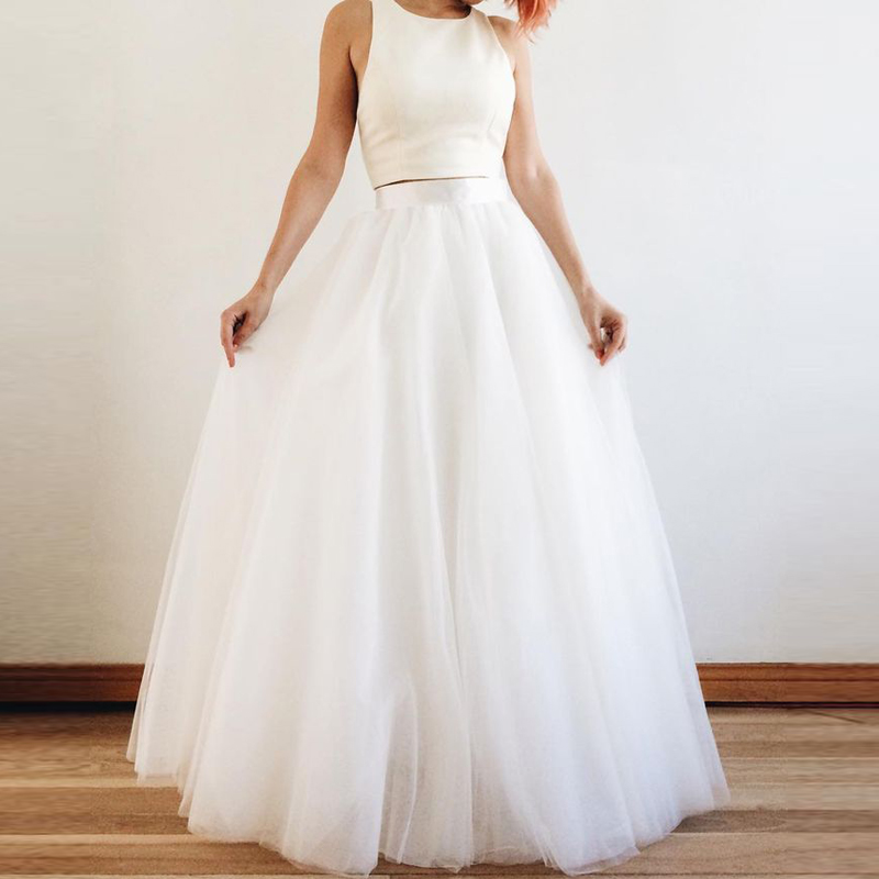 White/Ivory Tulle Long Skirt High Waist 5 Layers Floor Length Women Tulle Skirt Custom Made Vintage Bridal Wedding Skirt 2018