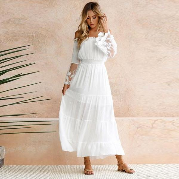 Maxi Dress Women 2019 Summer Long Flare Sleeve Slash Neck Sexy Long Dress Holiday Spliced Chic White Beach Dress Rode Vestidos in Dresses from Women 39 s Clothing