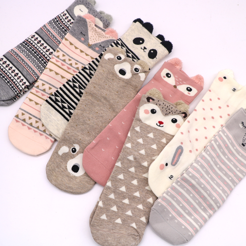 Cute Animal Cotton   Socks   for Female Kawaii Ankle Short   Socks   Women Female Casual Soft Colorful Cartoon PatterendFunny   Socks   3D