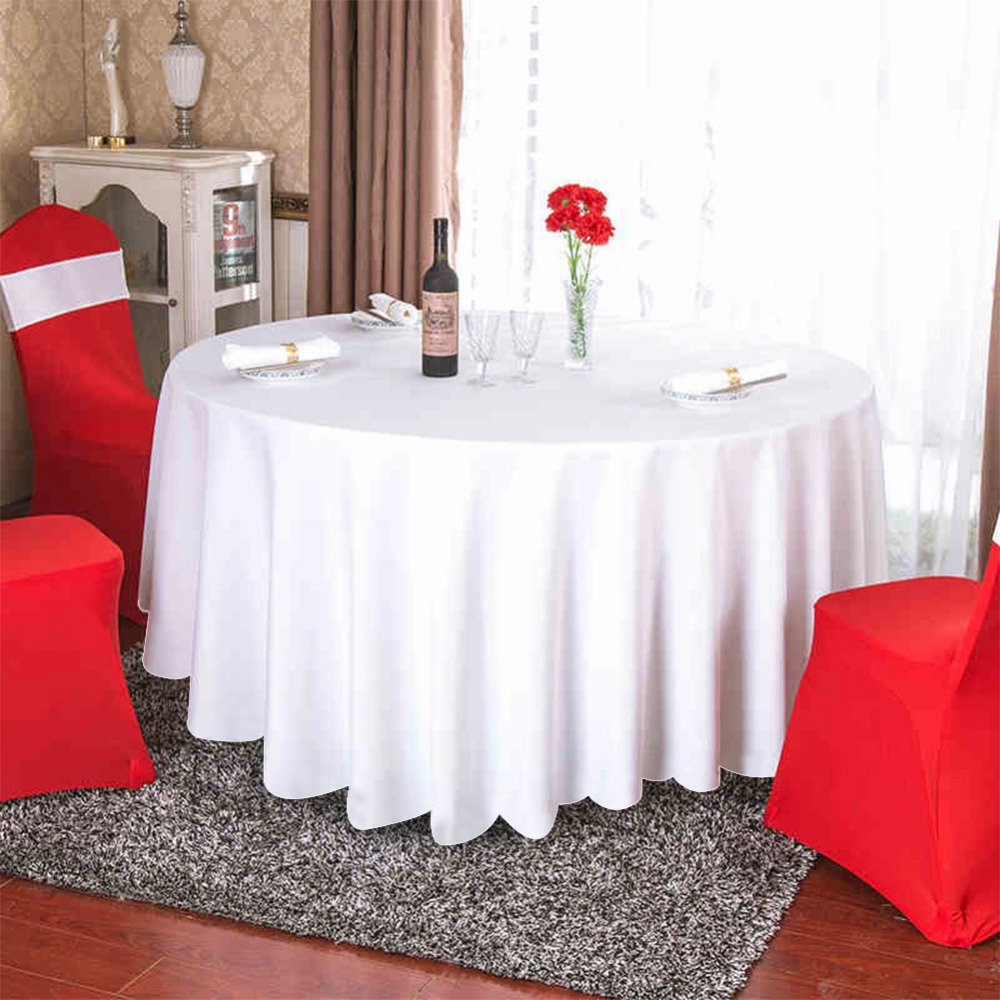 OurWarm 120inch Wedding Table Cover White Black Satin Round Tablecloths Modern Event Party Hotel Decoration