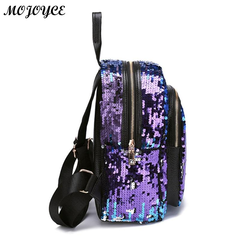 2pcs/1pc New Sequins Backpack New Teenage Girls Fashion Bling Rucksack Students School Bag With Pencil Case Clutch Mochilas #3