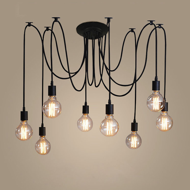 Retro Edison Lamp Chandelier Lighting Spider Shape Nordic Loft Style ...