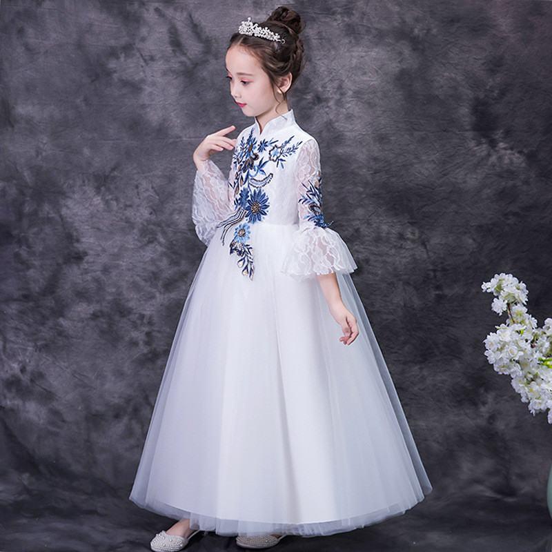 2019 nouvelle mode adolescente broderie Tutu princesse robe enfants robes pour filles de mariage bébé fille vêtements Vestidos F22 - 4
