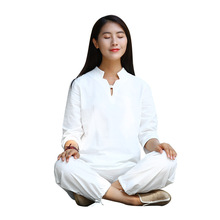 Women Yoga Tai Chi Suit Cotton Linen Loose Shirts Wide Leg Pant Female Casual Meditation Martial Clothes Set
