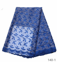 Hot Sale French Lace Fabric with Stones High Quality African For Wedding Nigerian Tulle 140