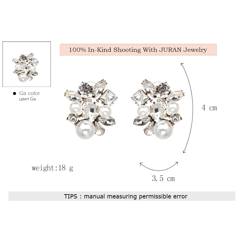 JURAN Maxi Statement Fashion Charming Jewelry Simulated Pearl Pendant Stud Earrings for Women Wedding Engagement Gift Hot Sale