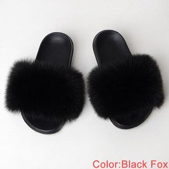 Faux Fur Slides Women Summer Slippers Home Shoes Woman Faux Fur Sandals Female Fashion 2019 Size 36 37 38 39 40 41 42 43 44 45 4