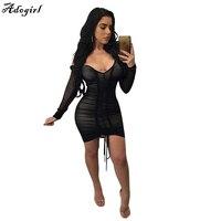Adogirl金kardashianパーティードレスディープvネックセクシーな黒のメッシュドレス女性プリーツドローストリングボディコンローブvestidos s-xl
