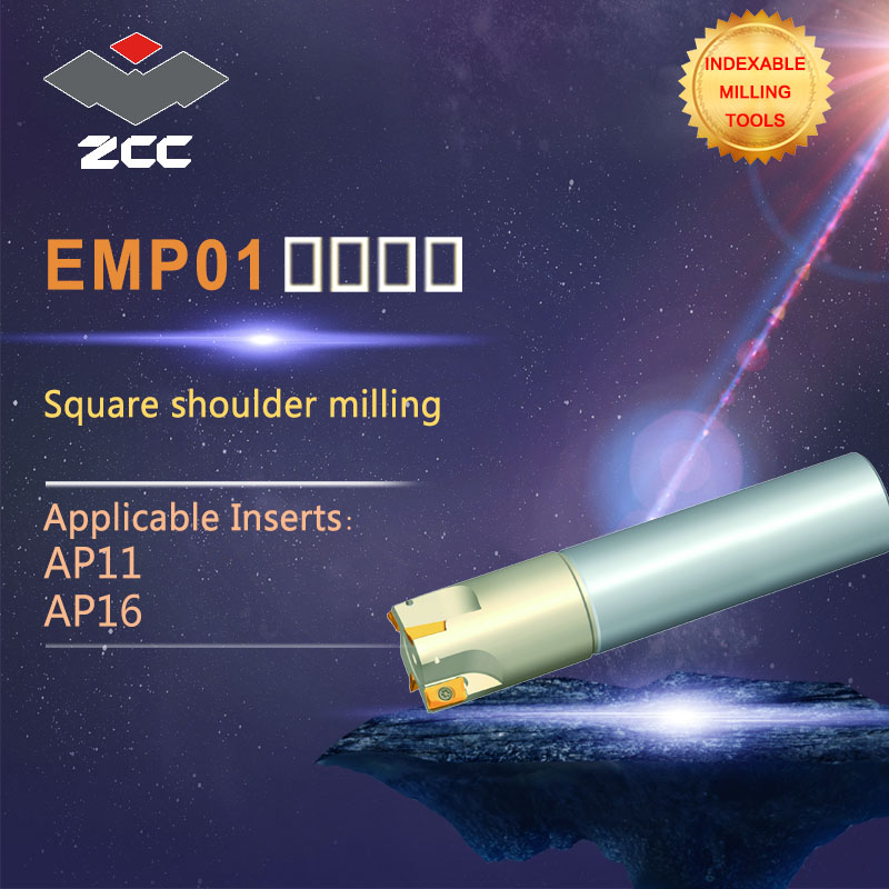 ZCC.CT Square Shoulder Milling Tools EMP01 High Performance CNC Lathe Tools Indexable Milling Tools Close And Even Pithch 45 DEG