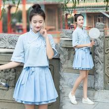 купить hanfu oriental costume chinese shirt blue pleated skirt qipao summer short chinese style dress по цене 1171.71 рублей
