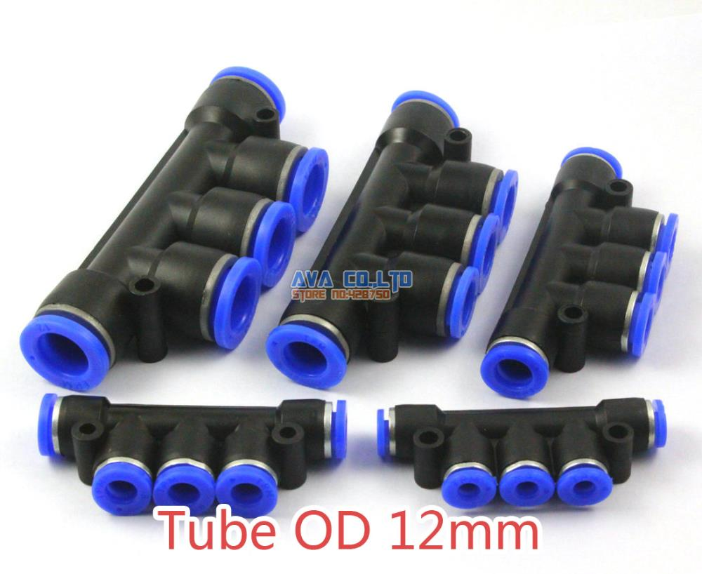 5 Pieces Pneumatic Manifold Union Tube OD 12mm Air Push In To Connect Fitting One Touch Quick Release Fitting 2 pcs 12mm to 10mm y union push in to connect fittings