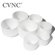 "CVNC Chakra Tuned Set van 7 pcs 8 ""-14"" Note C D E F G EEN B frosted Quartz 432Hz crystal klankschaal(China)"