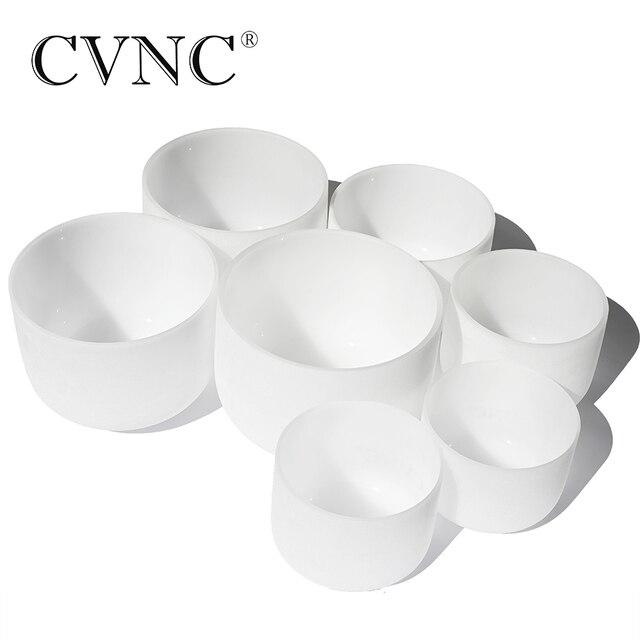 """Chakra Tuned Conjunto de 7 CVNC pcs 8 """"-14"""" Nota C D E F G A B fosco tigela cantando cristal de Quartzo 432Hz"""