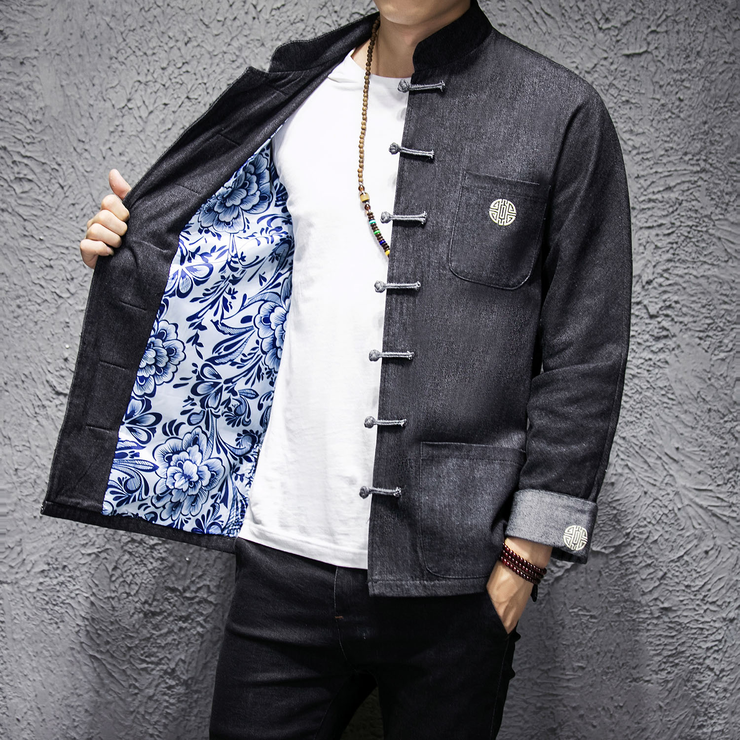 New Spring and Autumn Chinese Men's Tang Dress Denim Tops National Wind Jacket Retro Jacket