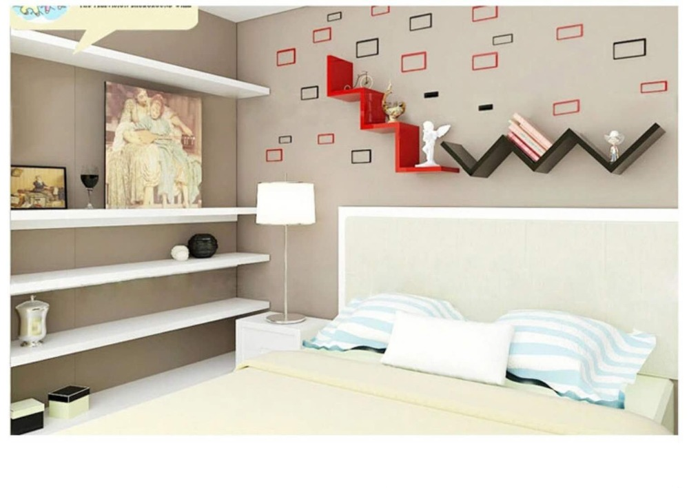 Creative partition shelving wall shelf W shaped wall shelf shelf wall frame background wall decoration frame