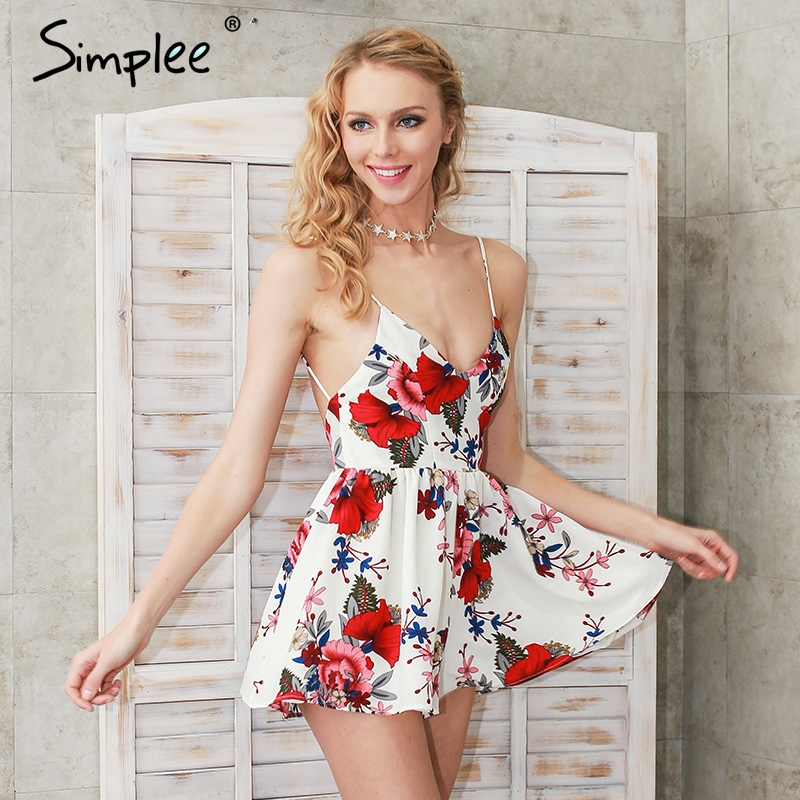 Summer beach boho floral print overalls Backless sexy bodysuit