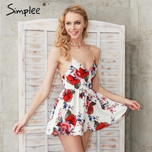 Sexy Bodysuit Romper Overalls Simplee Backless Boho Chiffon Floral Print White Summer Beach