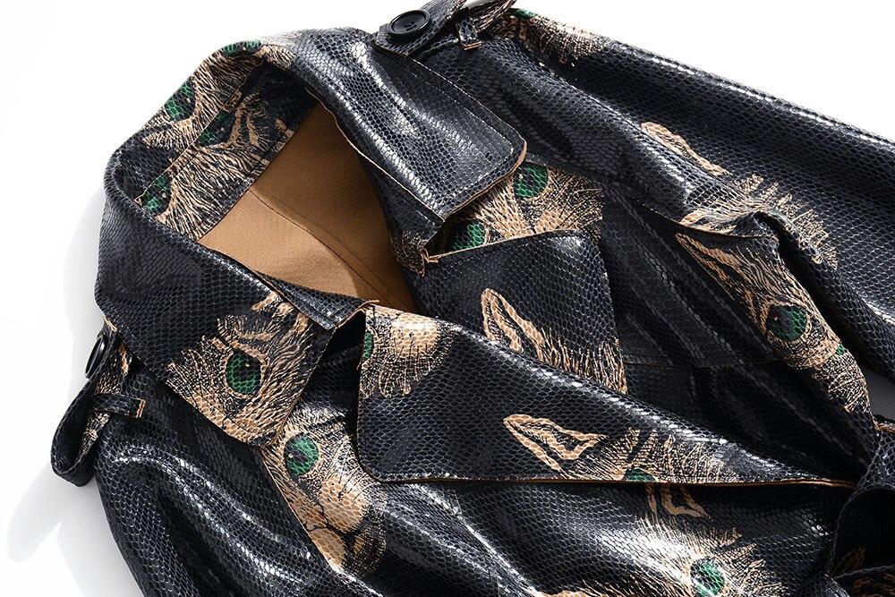 Cuir Mince En Dentelle Et Motif S1103 Automne De Nouvelles D'impression Femmes Veste Ceinture 2018 Saches Noir Mode vent Chat Coupe Hiver Zwpqx8B64