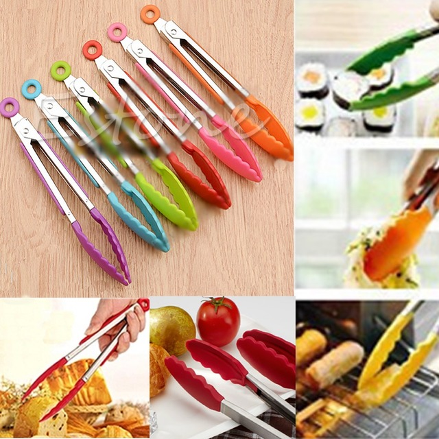 NEW Silicone Kitchen Cooking Salad Serving BBQ Tongs Stainless Steel Handle Utensil 2