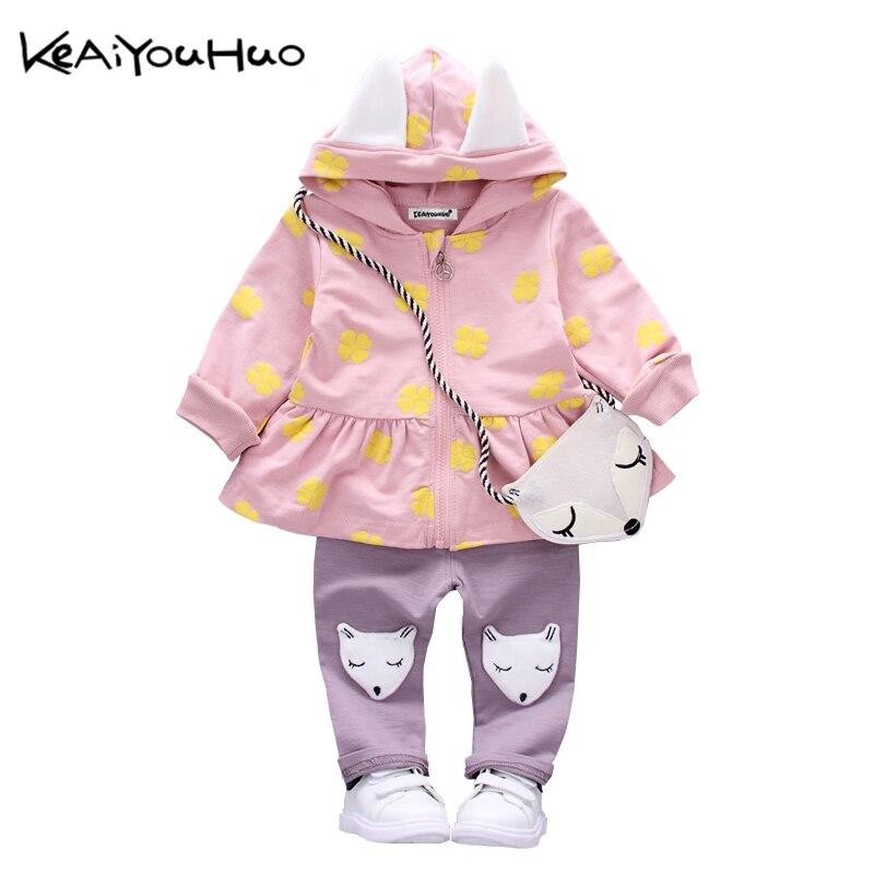 KEAIYOUHUO Girls Clothes Set Spring Autumn Toddler Children Clover printed Long Sleeves T shirt Cute Fox