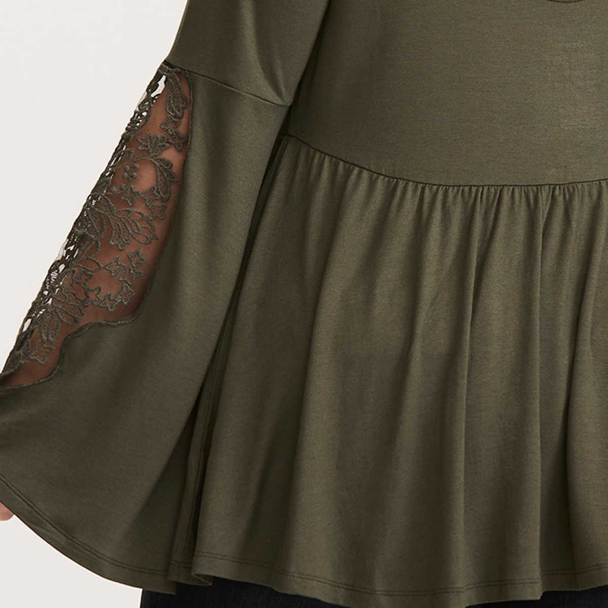 167d3d6fe40 ... kissmilk Plus Size Patchwork Lace Women shirts Hollow Out Long Sleeve  T-shirts Lace Up ...