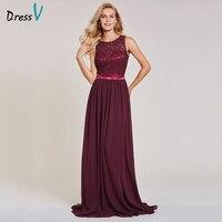 Dressv Rust Red Long Evening Dress Cheap A Line Spring Sleeveless Wedding Party Formal Dress Backless
