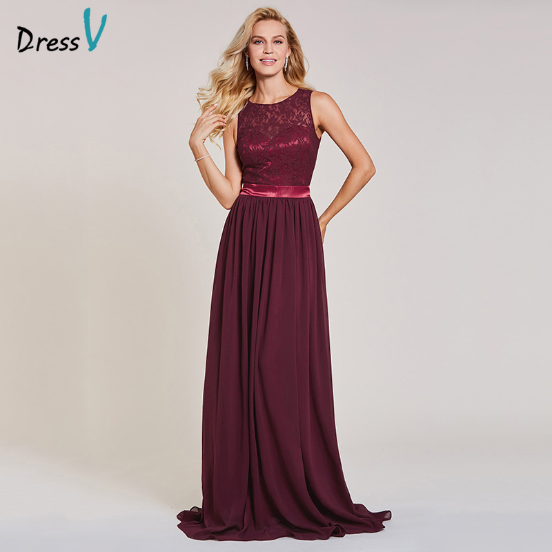 Dressv rust red long evening dress cheap a line spring sleeveless wedding party formal dress backless lace evening dresses