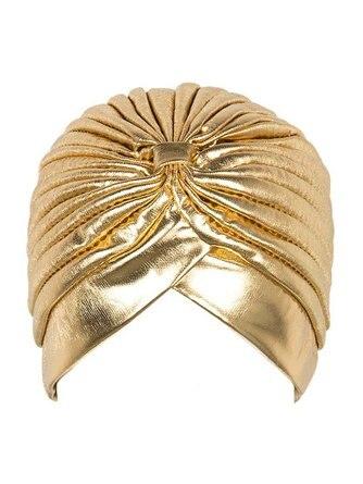 Metallic Turban Head Wrap Hat  Headband BandanaCap Gold And Silver Color