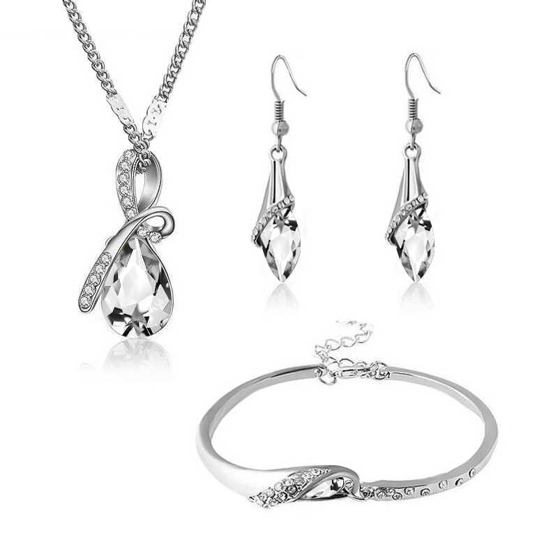 SHUANGR zestawy biżuterii kropla wody srebrny kolor niebieski naszyjnik wisior z kryształem austriackim zestaw biżuterii ślubnej