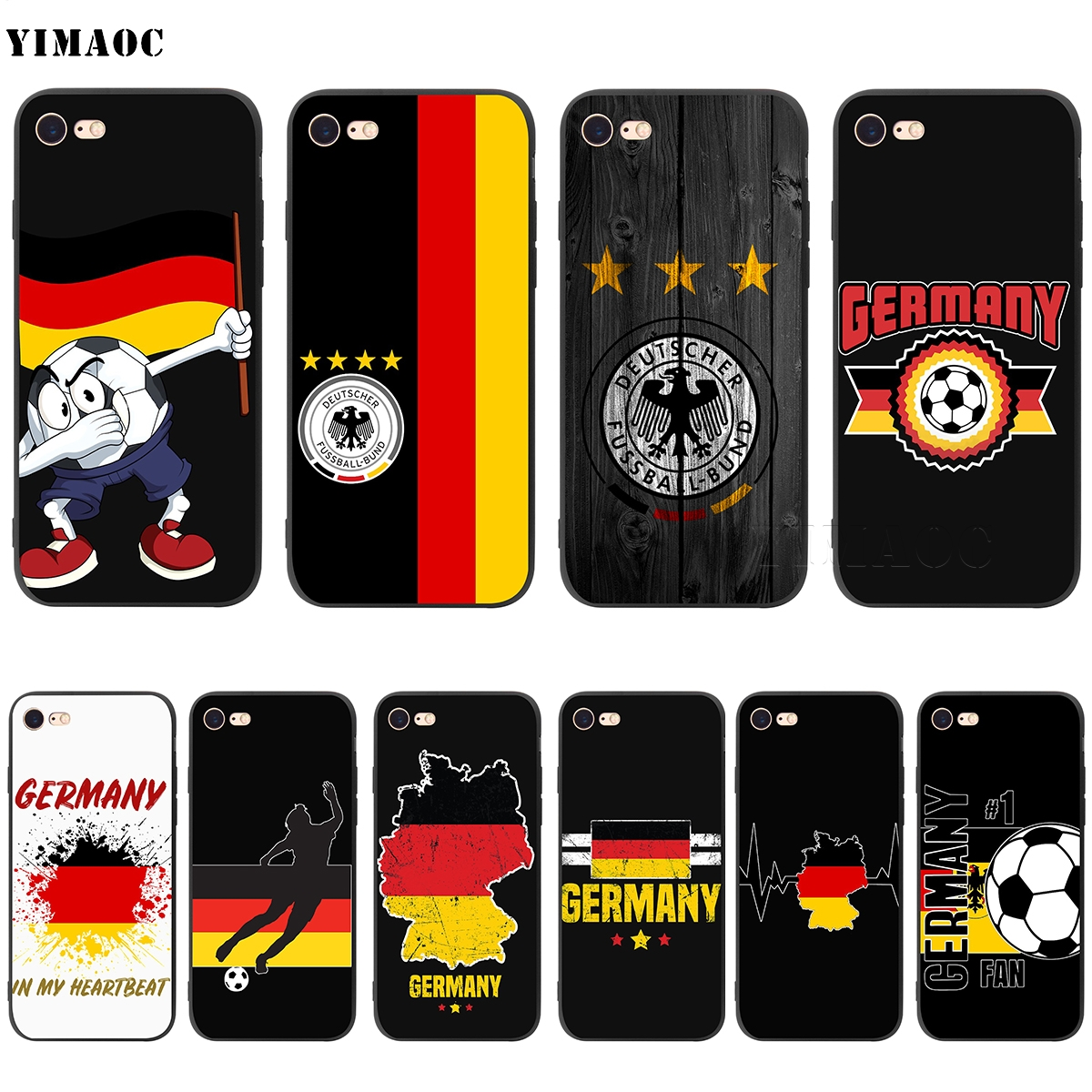 YIMAOC Germany Soccer Soft Silicone Case for iPhone 5 5s SE 6 6s 7 8 Plus X