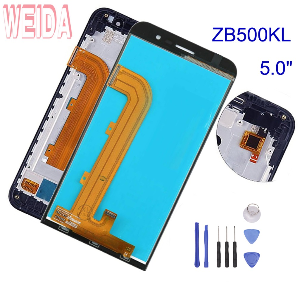 WEIDA For ASUS Zenfone Go ZB500KL X00AD LCD Display Touch Screen Digitizer Frame Assembly 100% Tested 5.0 Replacement +ToolWEIDA For ASUS Zenfone Go ZB500KL X00AD LCD Display Touch Screen Digitizer Frame Assembly 100% Tested 5.0 Replacement +Tool