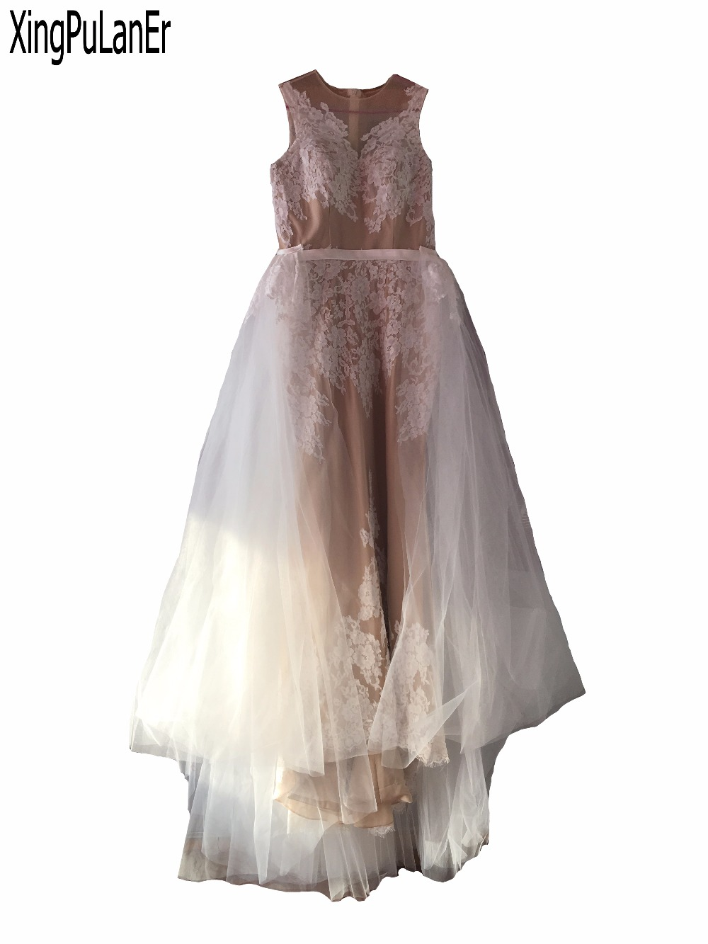 Robe de soirée blanche dentelle Champagne sans manches débardeur encolure dégagée femmes longues robes de soirée avec Train amovible vestido de festa