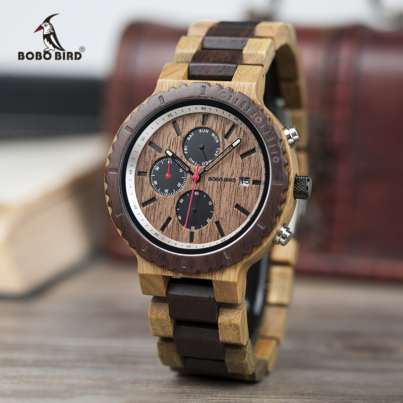 Relogio Masculino BOBO BIRD Watch Men Top Luxury Brand Wooden Timepieces Chronograph Quartz Watches Men's Gifts Drop Shipping