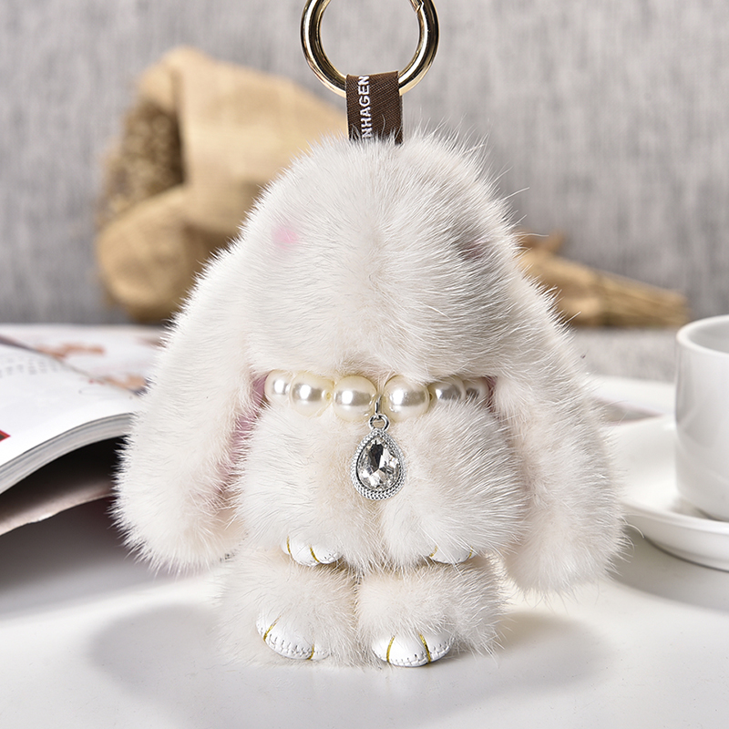 2017 Real Genuine mink rabbit Fur Keychains Rabbit Pendant Bag Car Charm Tag Cute Mini bunny