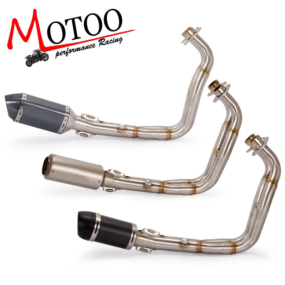 Motoo-MT07 FZ07 moto D'échappement système Complet POUR Yamaha MT-07 FZ-07 Traceur 2014-2018 avec Silencieux XSR700 2016 -2017