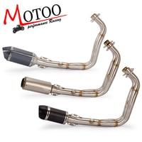 Motoo - MT07 FZ07 sistema completo de escape de motocicleta para Yamaha MT-07 FZ-07 Tracer 2014-2019 con silenciador XSR700 2016-2019