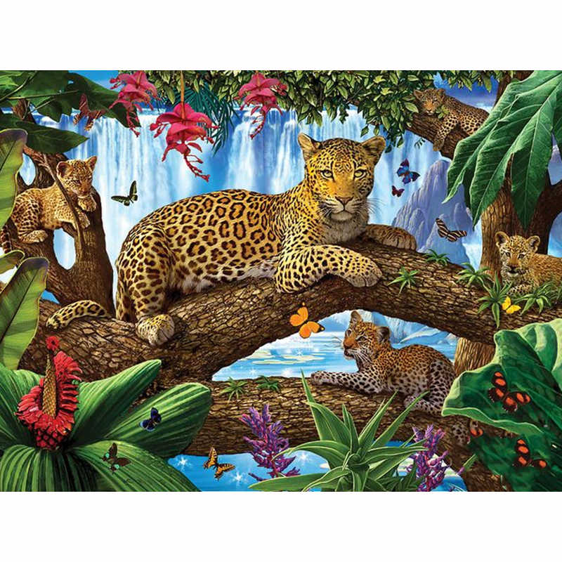 Full Drill Square 5D DIY Diamond Painting Tigers On Tree Diamond Embroidery Picture Of Rhinestone Decor Home