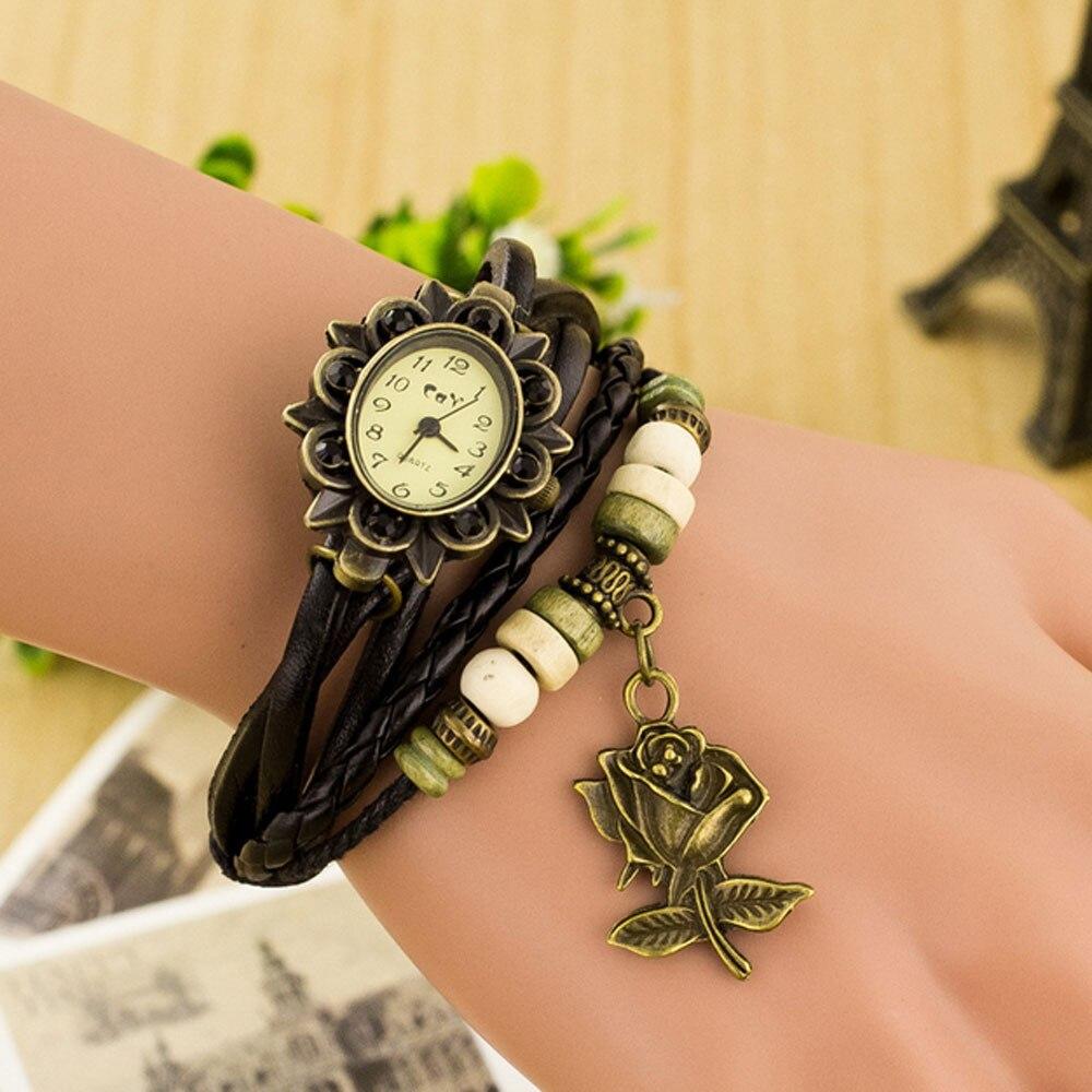 Bracelet Watch Quartz Feminino Vintage Fashion Women Lady Rose PU Round -77 Weave Casual
