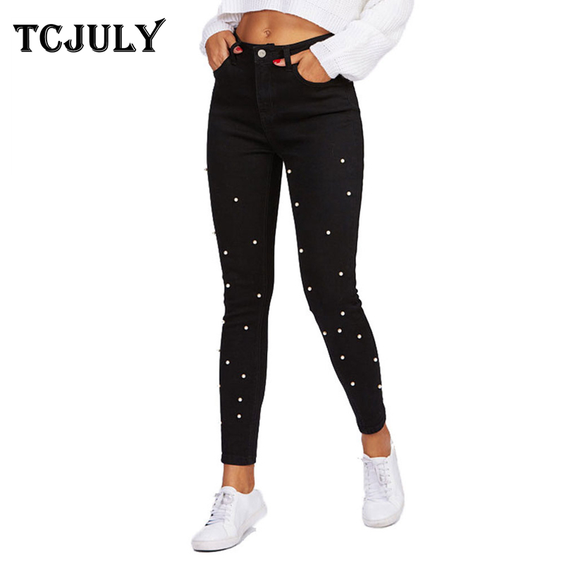 TCJULY 2019 Autumn Winter New Pearl   Jeans   For Women Skinny Push Up Slim Black Pencil Pants Streetwear Casual Stretch Denim   Jeans