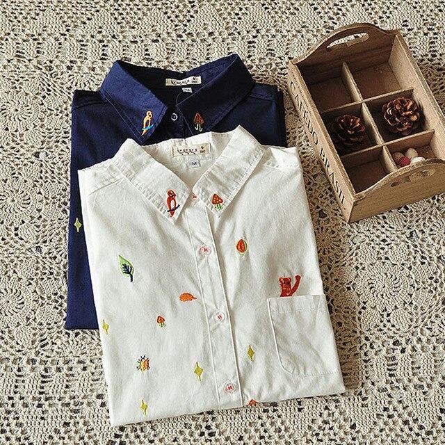 Japoński styl kobiety casual bluzka zwierząt haft bluzki z długim rękawem blusas Femininas Turn Down Collar Bawełniane Koszule Damskie Topy