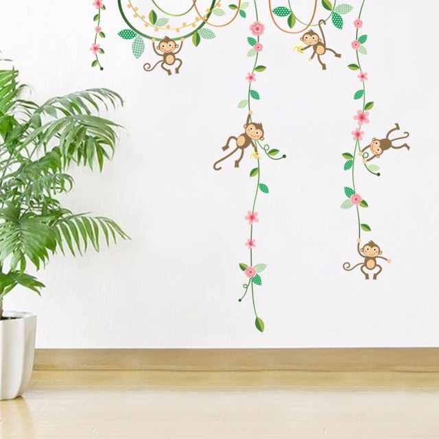 Cartoon Monkey Climbing Flowers Vines Kids Room Nursery Wall Stickers Boys Girls Infant Room Wallpaper Poster  sc 1 st  AliExpress.com : girl monkey wall decals for nursery - www.pureclipart.com
