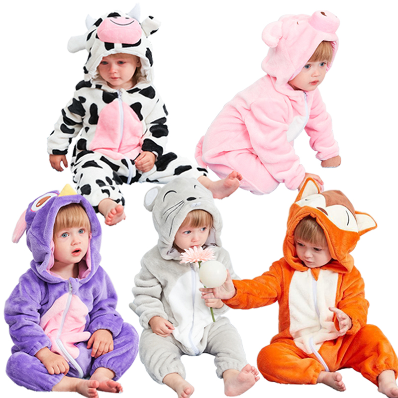 Baby   rompers   pig girls clothes new born baby costume stitch boy jumpsuit warm winter animal pajamas roupas de bebe recem nascido