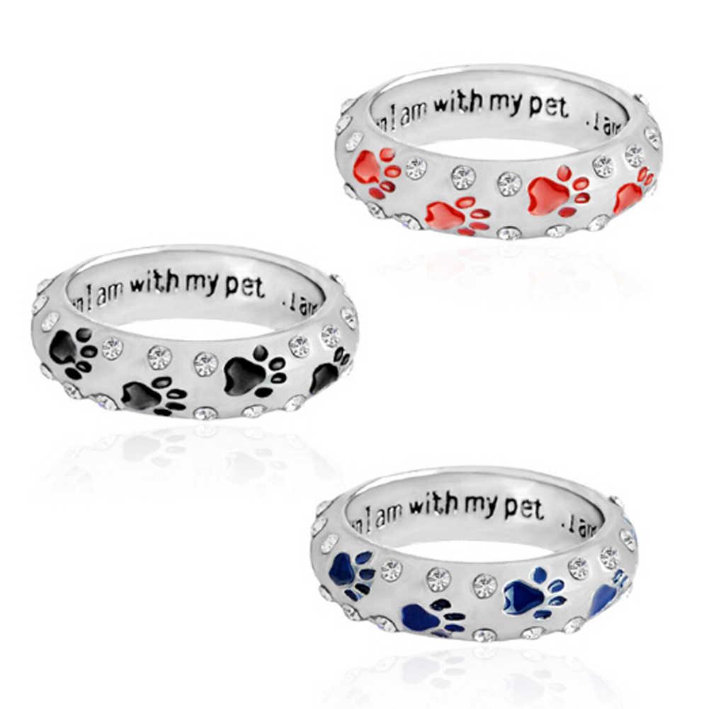 Новое поступление! кольцо для когтей домашних собак Стразы для женщин когда я с домашним животным Кольцо Собака Следы лап кольцо ювелирные изделия 3 цвета!