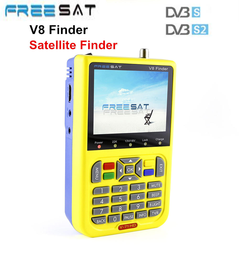 Genuine Freesat V8 Finder DVB-S2 HD Digital Satellite Finder Meter MPEG-2/ MPEG-4 Compliant 3.5 Inch LCD Display QPSK, 8PSK sf 600 3 4 display dvb s dvb s2 digital satellite finder white black