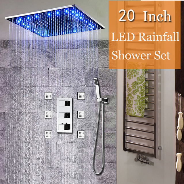Moderne Thermostat Duscharmatur Decke Fhrte Regen Dusche 20 Edelstahl Duschpaneel Messing
