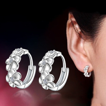 Top Sale 925 Sterling Silver Earring Woven Flowers Shape Hoop Earrings Embed CZ Crystal Pretty Earring For Wedding Accessories 3