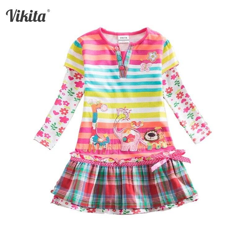 Vikita marca meninas vestidos crianças bebê listrado roupa infantil vestido roupas da criança meninas veados elefante dos desenhos animados vestidos de flores l323