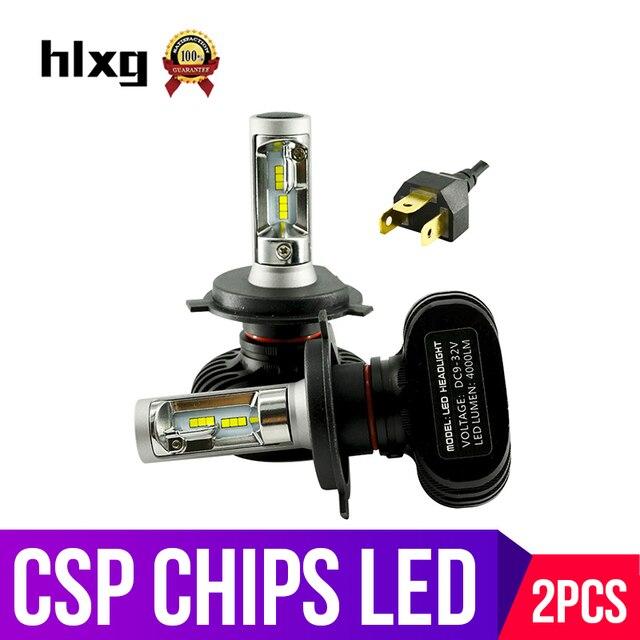 Hlxg 1 компл. 2 шт. Новое поступление H4 светодиодные фары высокой ближнего света 50 Вт 8000LM противотуманных фар комплект замены лампы супер яркий авто лампы